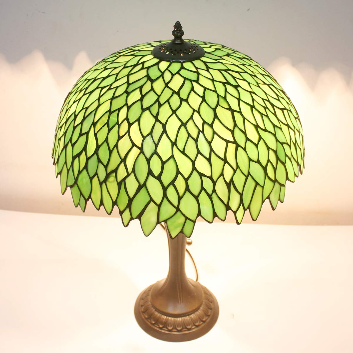Tiffany Style Table Lamp Stained Glass Beside Desk Lamps 24 Inch Tall 2 Light Pull Chain Green Wisteria Lampshade Antique Base for Living Room Coffee Table Bedroom S523 WERFACTORY (S52316T19)