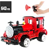 RC Steam Train Building Blocks Locomotive Toys 643pcs Technic Bricks Set Vehicles Construction Kit for Boys 6,7,8,9 Year Old and UP Educational Birthday Gift with USB Rechargeable Battery,Cab Windows