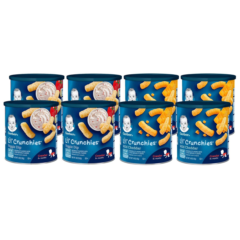 Gerber Lil Crunchies, Mild Cheddar & Veggie Dip, 8 Count