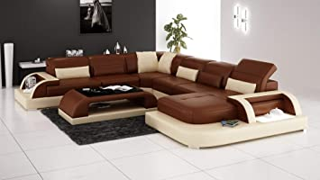 Amazon Com My Aashis Luxury Contemporary Modern Leather Lounge 5 6
