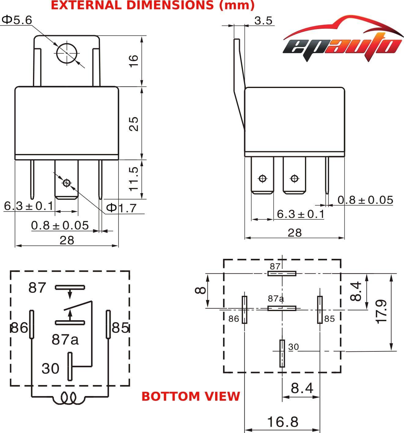 tyco 5 blade relay wiring diagram amazon com 4 pack epauto 30 40 amp relay harness spdt 12v bosch  epauto 30 40 amp relay harness spdt 12v