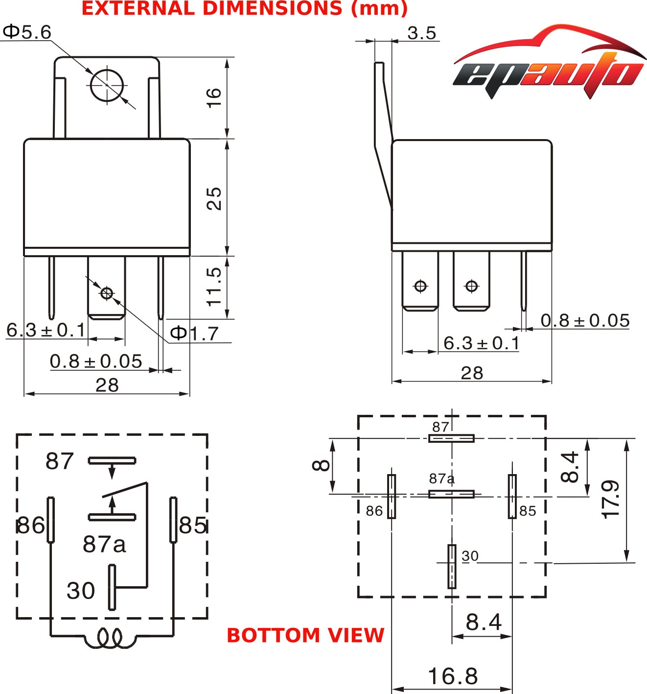 5 Pack Epauto 30 40 Amp Relay Harness Spdt 12v Bosch Starter Motor Wiring Diagram Style Automotive