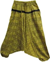 Olive Green Bohemian Indian Cotton 'OM NAMAH SHIVAY' Alibaba Harem Jumpsuit Pant