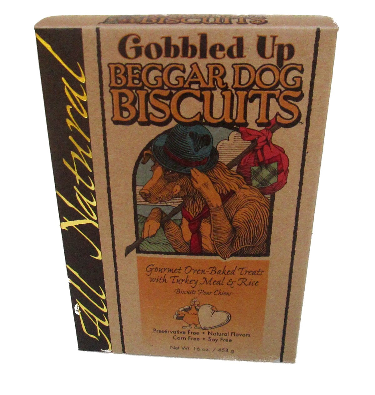Beggar Dog Biscuits Gobbled Up, Oven-Baked Treats with Turkey & Rice, 16 Oz. Box (2-Pack)