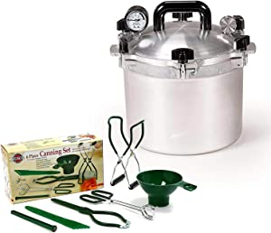 All American 10.5 QT Pressure Cooker Bundle with 1 Rack and Norpro Canning Essentials 6 Piece Box Set