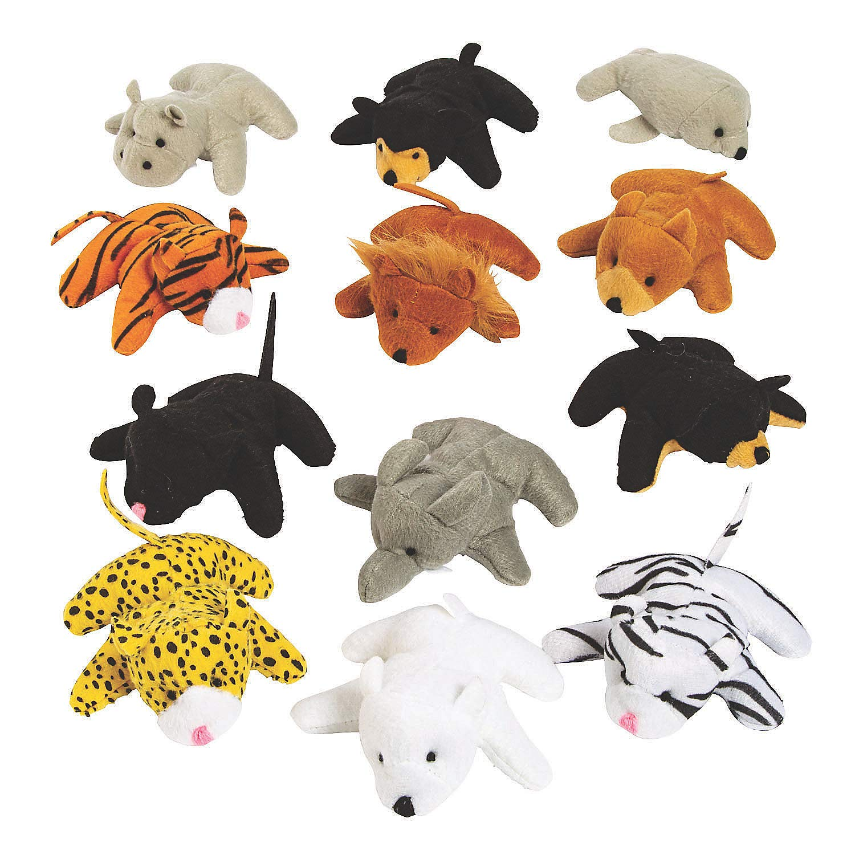 Fun Express 25pc Mini Zoo Plush Animal Set - Toys - Plush - Stuffed Zoo & Safari - 25 Pieces by Fun Express