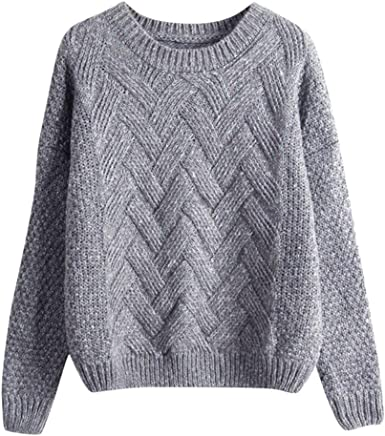 Misaky Womens Solid Color Crewneck Long Sleeve Casual Loose Knit Pullover Tunic Sweater Outwear Tops