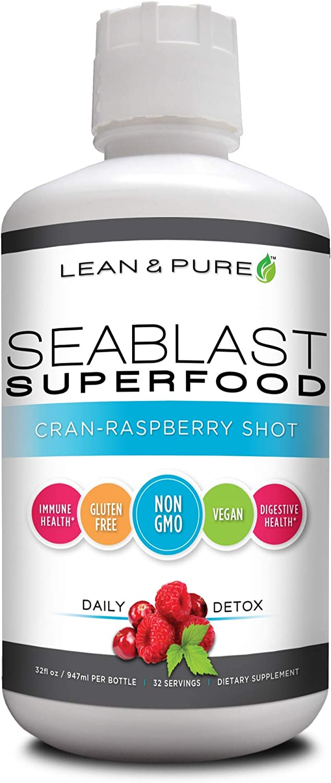 Lean & Pure Sea Blast Superfood, Vegan, Non GMO, Gluten Free, Supports Digestive Health, Aids Immune System, 32 Ounce, Cran-Raspberry Flavored Shot