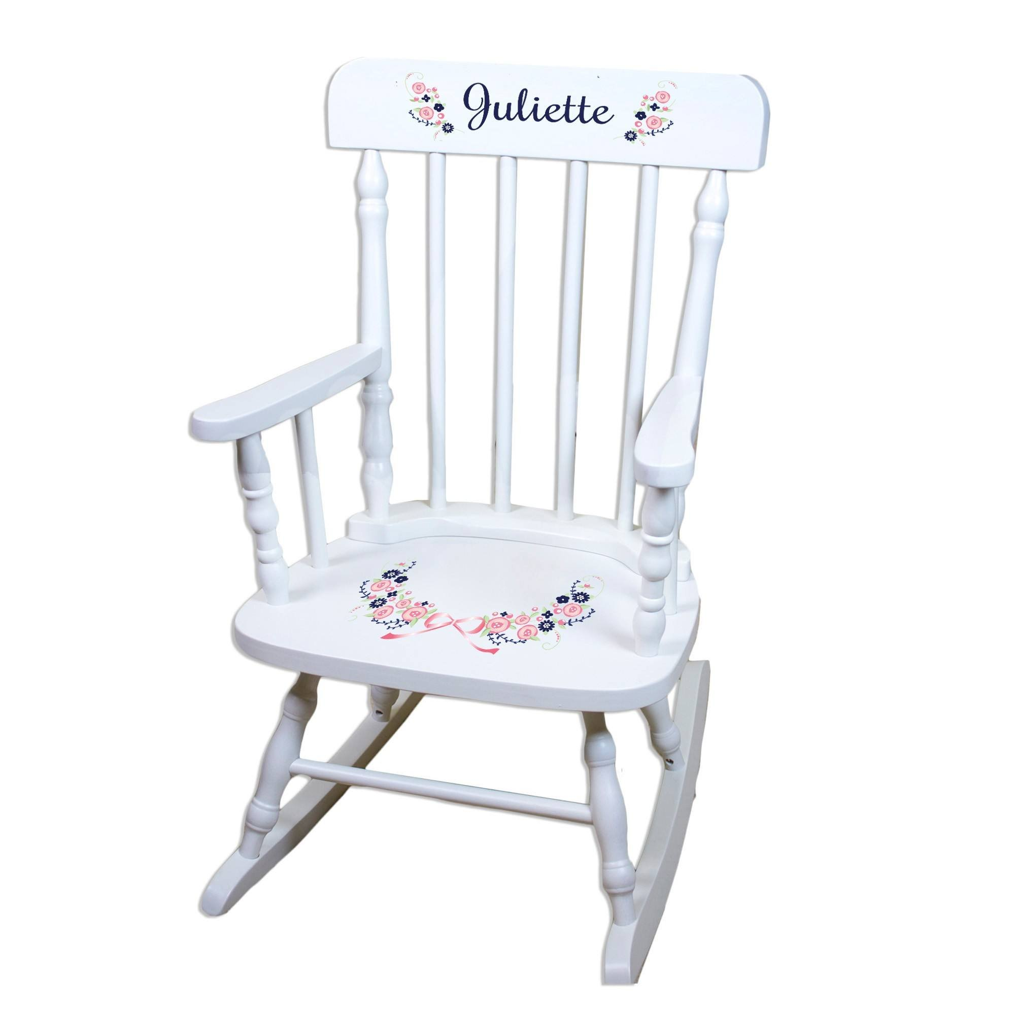 MyBambino Personalized Navy Pink Floral Garland White Wooden Childrens Rocking Chair