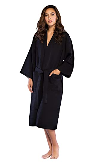 06329b0e15 Turquaz Linen Lightweight Long Waffle Kimono Spa Robe for Women  (Small Medium