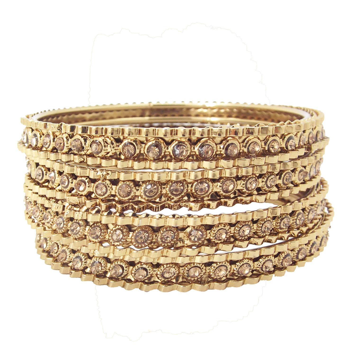 Biyu Antique Collection LCT CZ Stone Gold Plated 4pc Bangles for Womens Girls