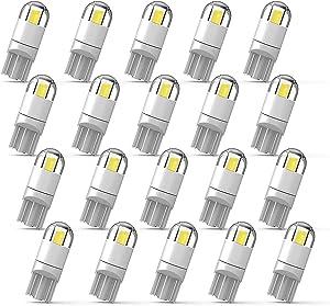 194 LED Bulb 3030 Chipset 2SMD T10 194 168 W5W LED Wedge Light Bulb 1.5W 12V License Plate Light Courtesy Step Light Trunk Lamp Clearance Lights (20pcs/pack)