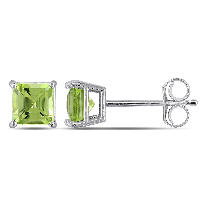 14Kt White Gold Peridot Princess Cut Stud Earrings
