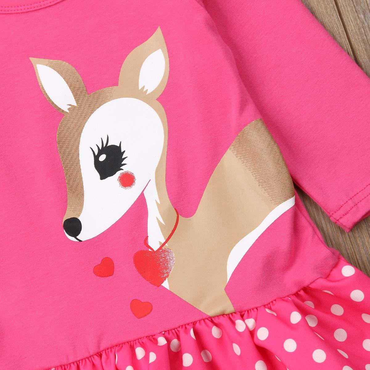 0-5T Baby Girl Long Sleeve Shirt Dress Deer Print Blouse Long T-Shirt Tops Dot Flounce Cotton Dress with Bowknot Headband