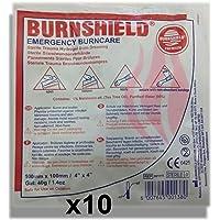 "Burnshield Premium Sterile Emergency Burn Dressing 4""x4"" (10cm x 10cm)""Cools The Burn"" Pack of 10"