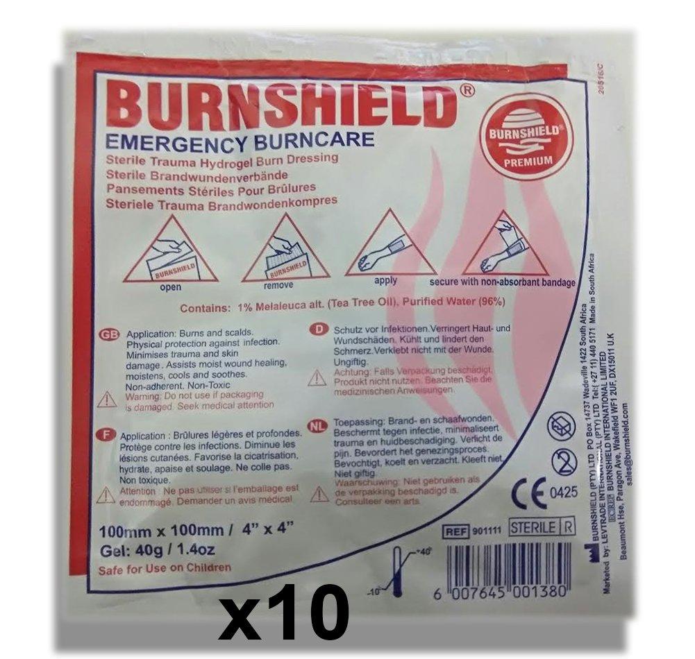 Burnshield Premium Sterile Emergency Burn Dressing 4''x4'' (10cm x 10cm) ''Cools The Burn'' Pack of 10