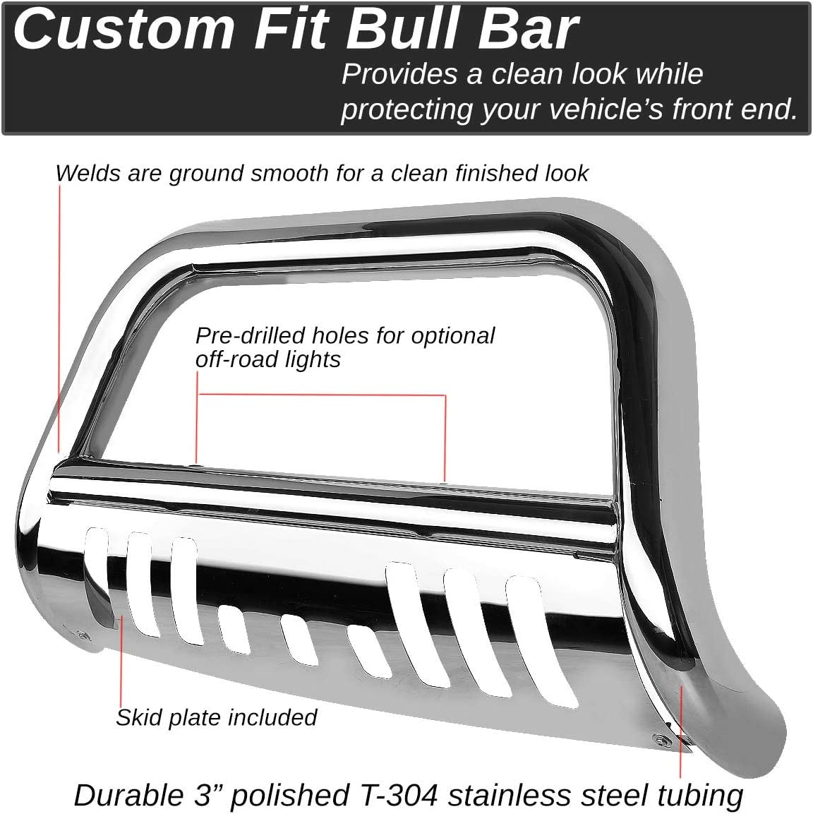 For Ford Super Duty//Excursion 3 inches Chrome Bull Bar+6 inches Black Housing Smoked Lens Fog Light