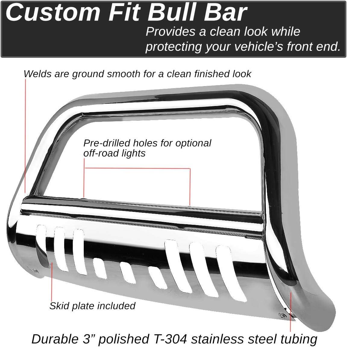 DNA MOTORING BURB-011-SS Silver BURB011SS 3 Front Bumper Push Bull Bar