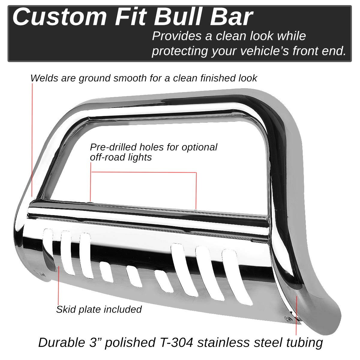 For Sequoia//Tundra 3 Black Bumper Push Bull Bar+Removable Skid Plate