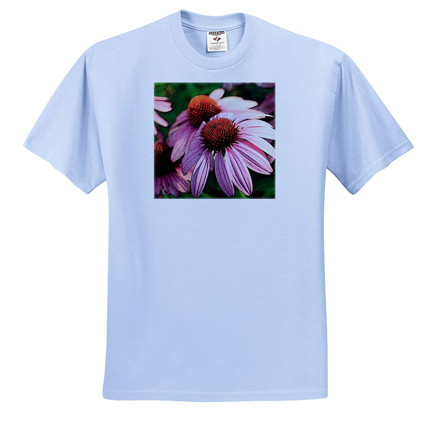Photograph of Pink coneflowers with an Added Film Grain Effect Flowers 3dRose Stamp City - Adult T-Shirt XL ts/_308705