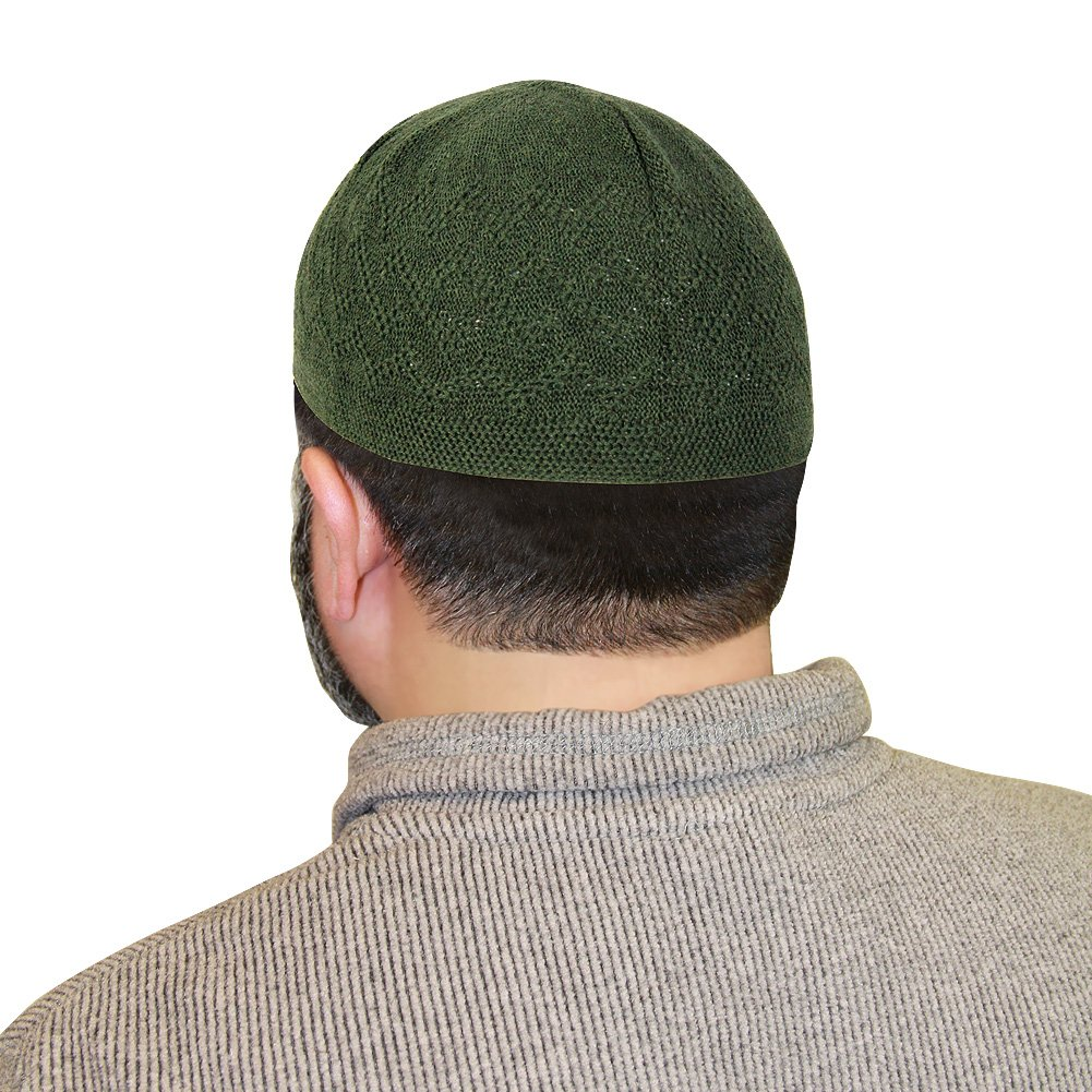 Green One Size Fits Most Traditional Plain Knitted Muslim Mens Prayer Kufi Hat by Hijaz (Image #1)