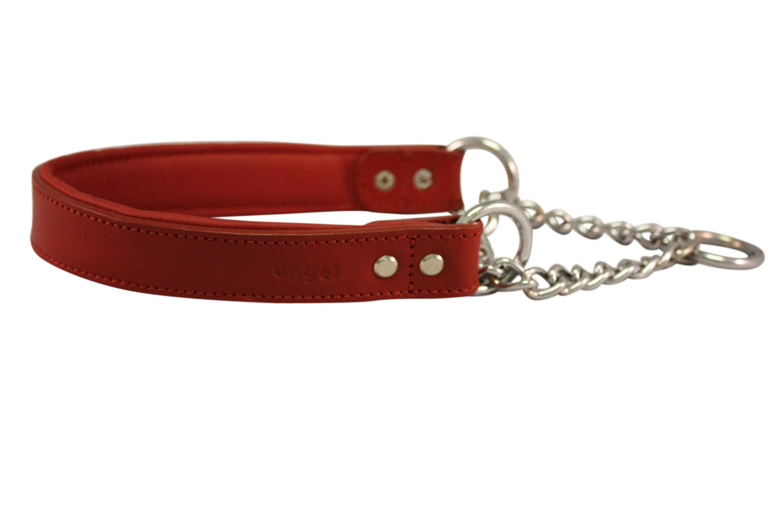 Leather Martingale Dog Collar, Choker, 16''x1'' (20.5'' fully extended), Red, Leather (Rio) with Stainless Steel. Read Description for correct sizing