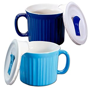 Corningware 20-oz Pop-ins Mug Set Includes 2 Mugs with Vented Plastic Lids (Pool Blue & Blueberry)