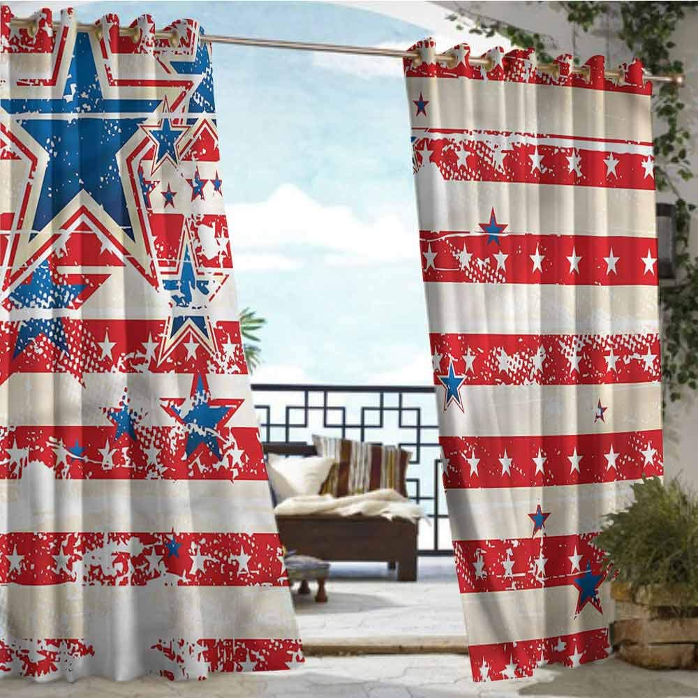 crabee Outdoor Privacy Curtain for Pergola American Flag,Star and Stripes,W72 xL108 for Front Porch Covered Patio Gazebo Dock Beach Home