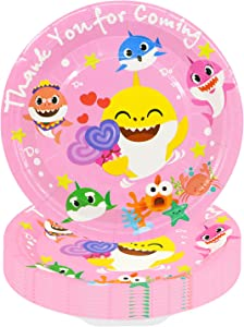 40 PCs Cute Shark Party Plates Baby Birthday Party Supplies for Shark Party Tableware Decorations, 7 inches