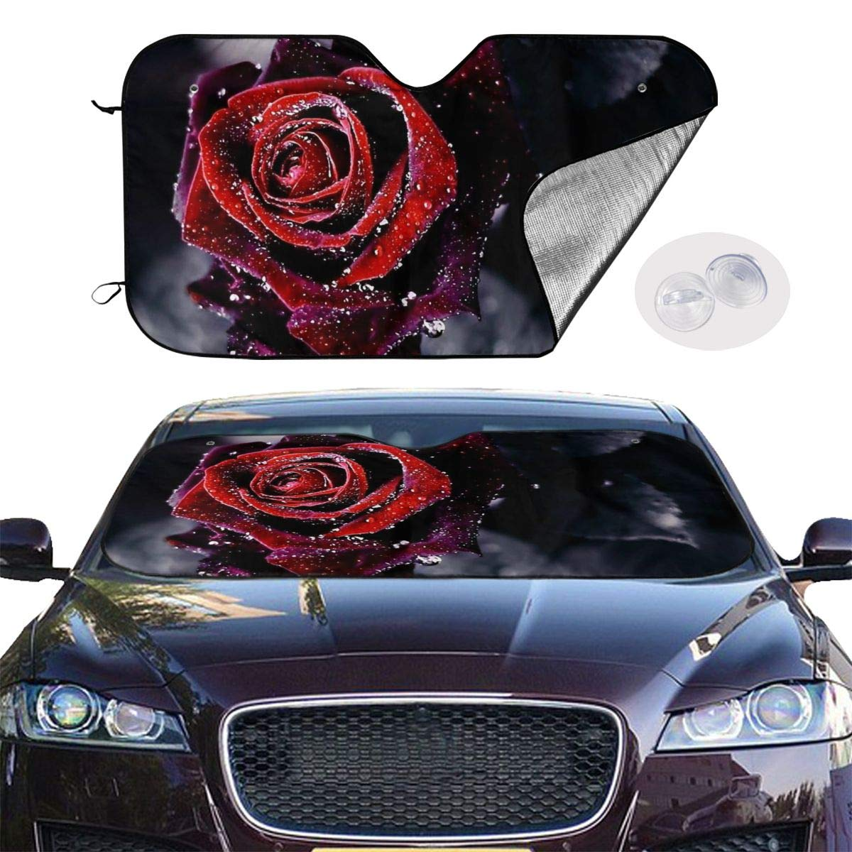 HE - Fashion Sun Shade, Windshield Sun Shade Water Rose Sunshades Keep Vehicle Cool Protect Your Car from Sun Heat & Glare Best UV Ray Visor Protector(Size: 55x30 Inches) by HE - Fashion