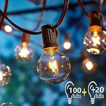 Guirnaldas Luminosas de Exterior 2Pcs 17Metros con 120 Bombillas,OxyLED G40 Luces de la Secuencia del Jardín al Aire Libre,Decorative String Luces de Patio,Garden Terrace Luces de Patio de Navidad: Amazon.es: Hogar