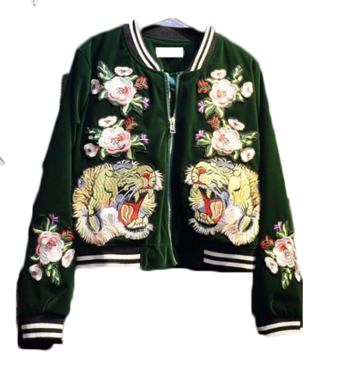 Farktop Womens Embroidery Patch Velvet Classic Biker Quilted Bomber Flight Jacket,Jacket-green,X-Large