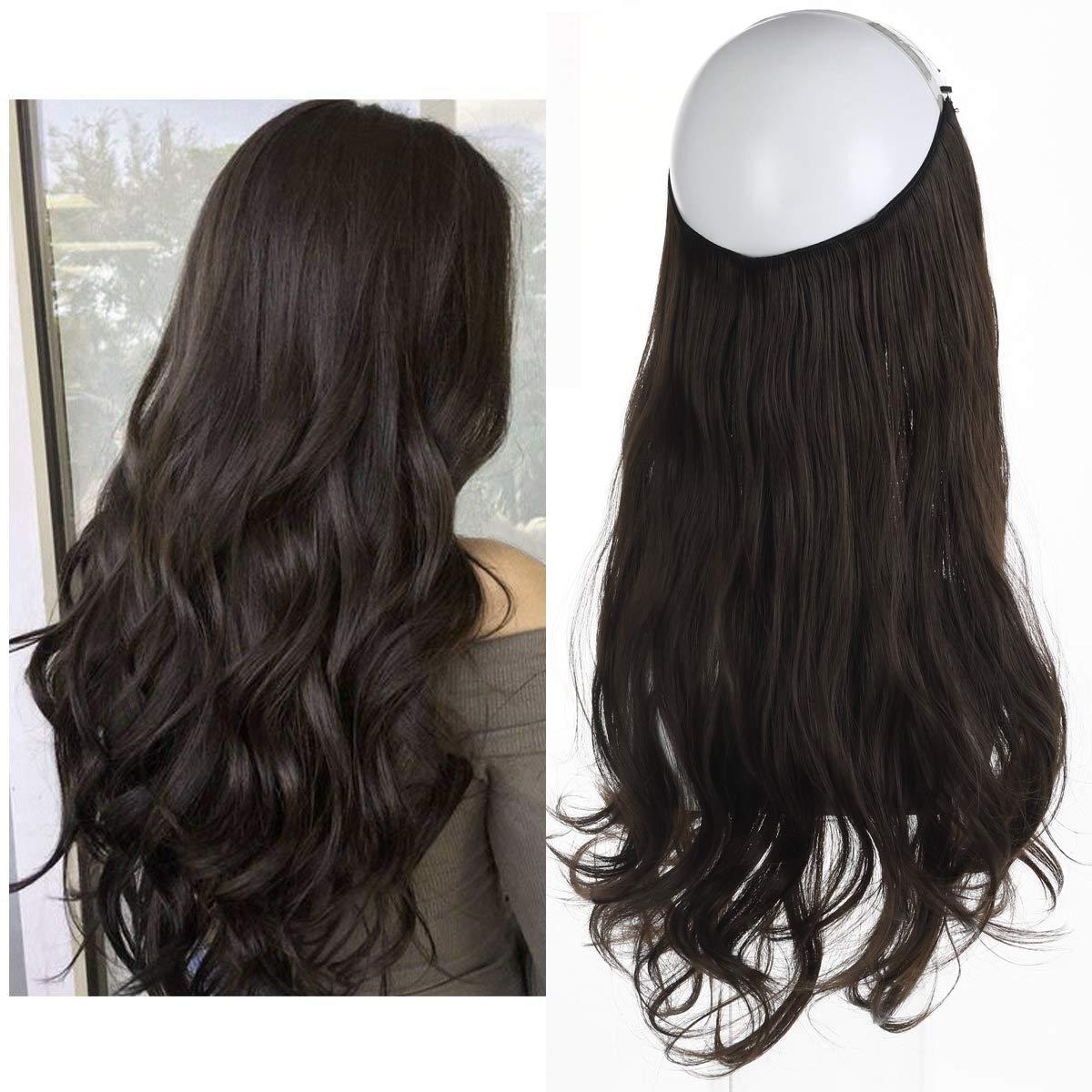 Dark Brown Hair Extension Halo Hairpiece Long 18