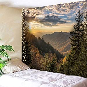 AMBZEK Landscape Tapestry 59Hx78W Inch Autumn Sunrise Mountains Nature Forest Tree Wilderness Park Art Wall Hanging Bedroom Living Room Dorm Decor Fabric