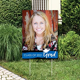 product image for Big Dot of Happiness Custom Blue Grad - Best is Yet to Come - Photo Yard Sign - Royal Blue 2021 Graduation Party Decorations