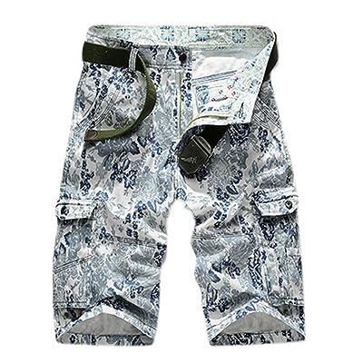 Scottliver Paul Men's Cotton Camo Multi Pocket Capri Solid Cargo Shorts