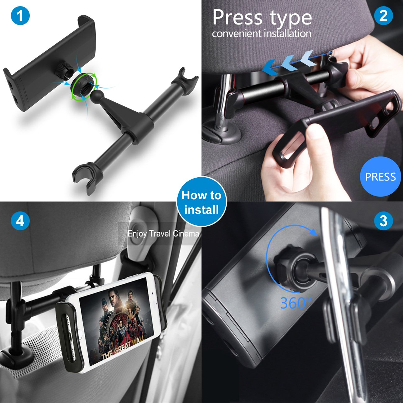 Car Headrest Mount for Tablet, 360 Degree Adjustable Car Backseat Holder for Android Phone/iPhone/iPad/Amazon Kindle and Nintendo Switch (for 4-11 Inch)