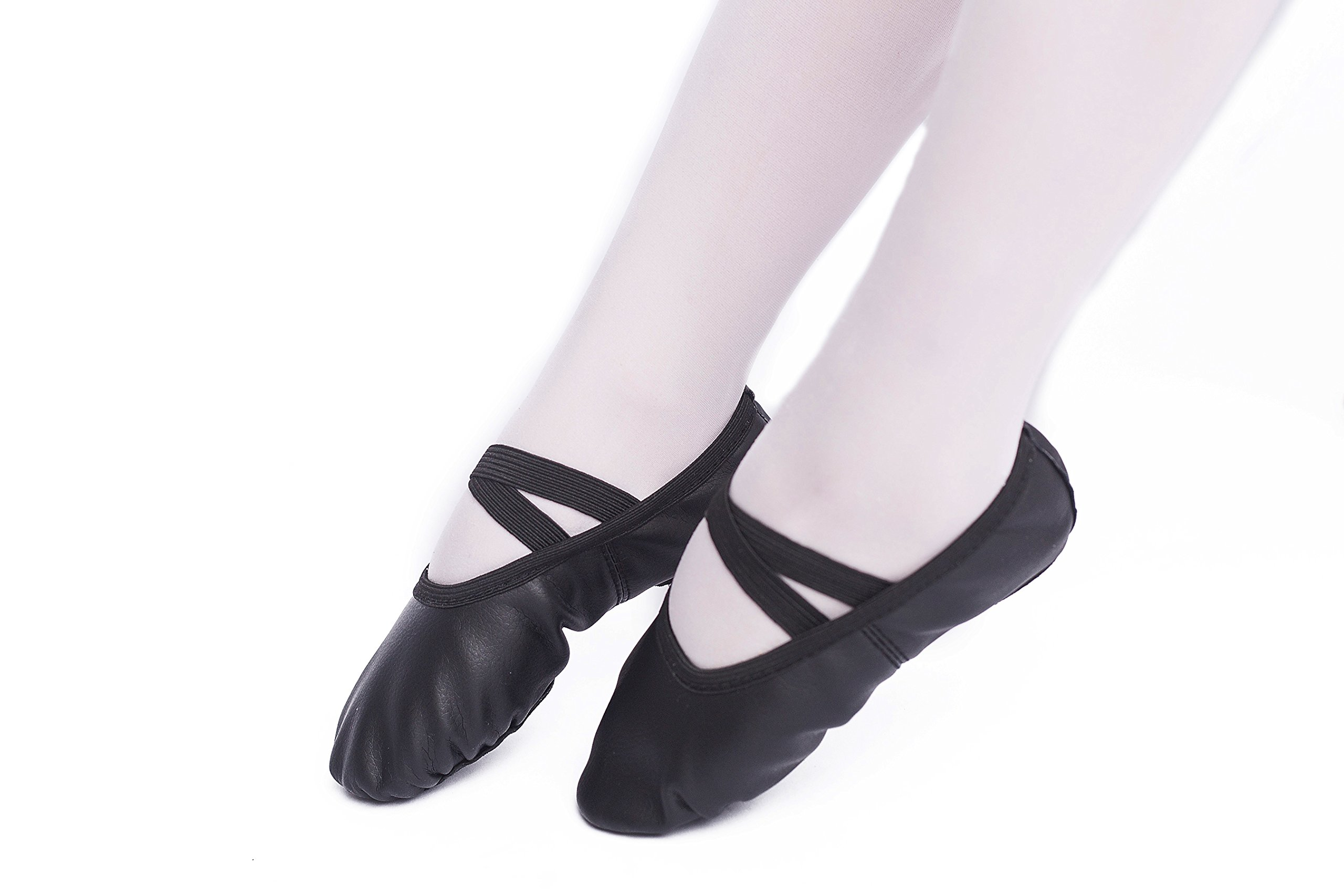 FERMAID Leather Ballet Dance Shoes Girls Pointe Shoes Slippers Flats Yoga Shoe(Toddler/Little Kid/Big Kid/Women) (215, Black) by FERMAID (Image #2)