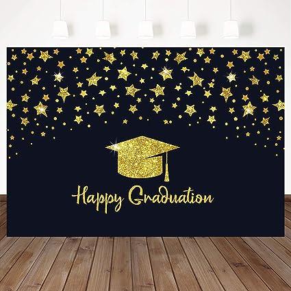 4c8f647ce5 Mocsicka Welcome Graduation Backdrop Gold Stars Graduation Hat Decoration  Background Black Backdrops 7X5ft Vinyl Graduation Party Booth Banner ...