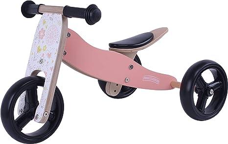 MATTI Bicicleta 2 en 1 Triciclo y bicicleta de madera, vehículo para niños con ruedas de goma, Color:Rosa: Amazon.es: Bebé