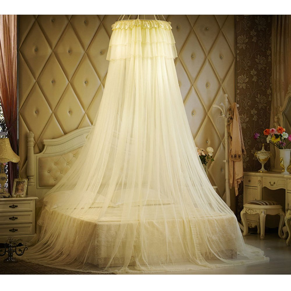 Mosquito Net Princess Lace Bed Canopy For Children Fly Insect Protection Indoor Decorative Height 280cm Top Diameter 1m,Yellow