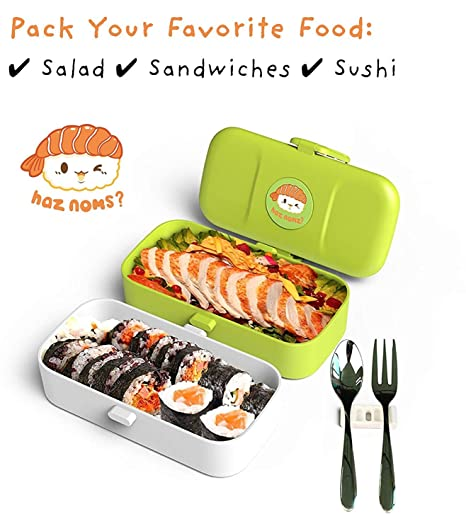 Cute Bento Lunch Box Kids - Gifts for Boy, Girl, Teen, Adult - Kawaii,  Manga, Anime Style Japanese Bento Box Food Container Set - 2 Layer Leak  Proof