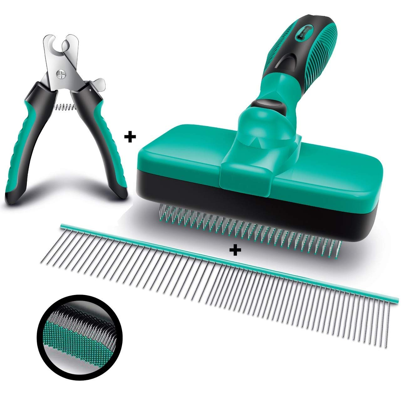 """Ruff 'N Ruffus Self-Cleaning Slicker Brush + FREE Pet Nail Clippers + FREE 7.5"""" Steel Comb 