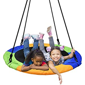 PACEARTH 40'' Saucer Tree Swing Flying 660lb Weight Capacity 2 Added Hanging Straps Adjustable Multi-Strand Ropes Colorful Safe and Durable Swing Seat for Children Adults
