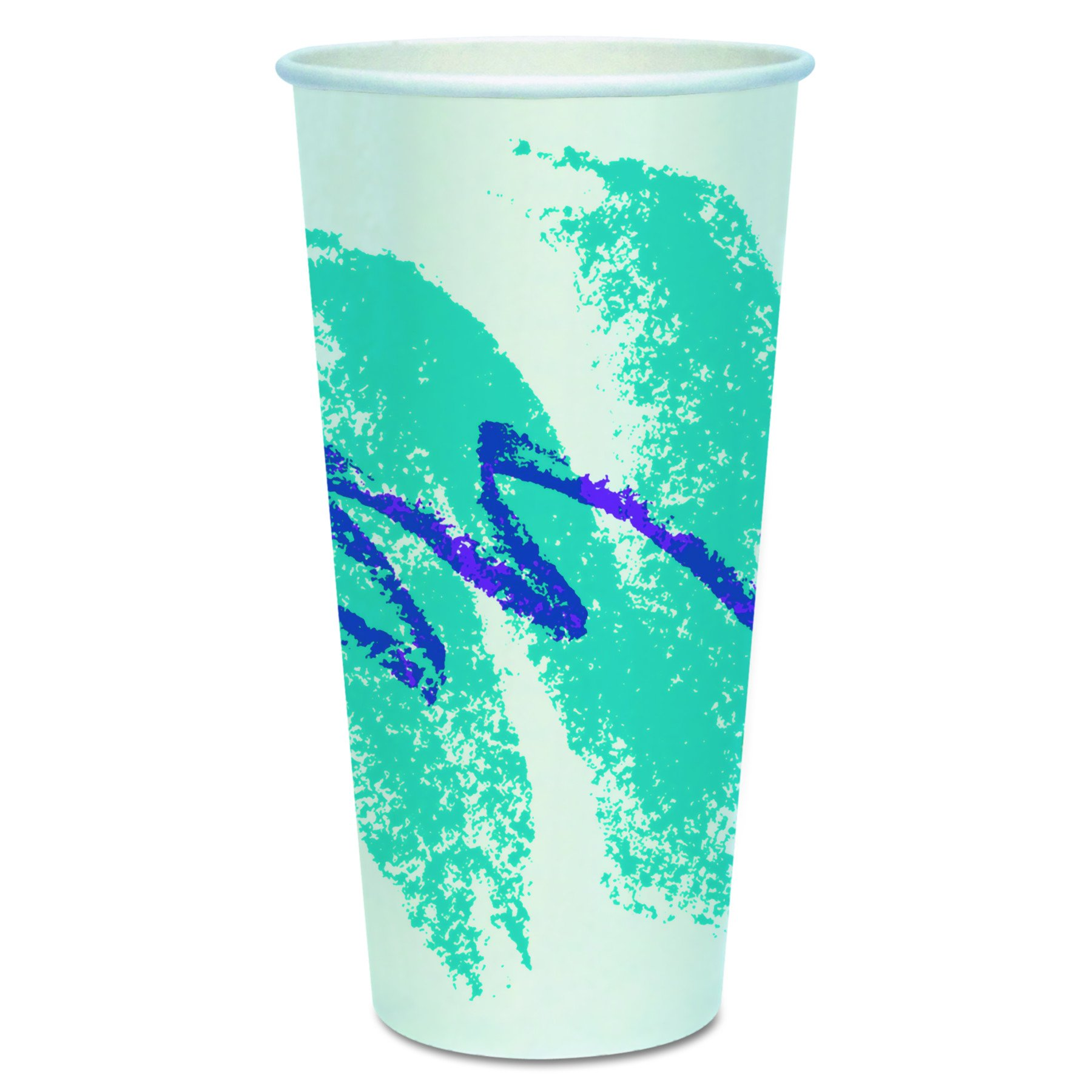 SOLO Cup Company RP24PJ Double Sided Poly Paper Cold Cups, 24 Oz, Jazz Design, Pack of 50 (Case of 20 Packs)