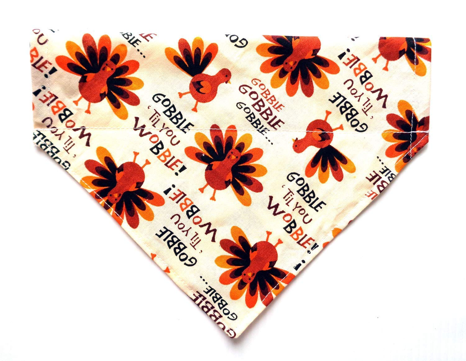 Gobble Til You Wobble Thanksgiving Turkey Prints Holiday Dog Bandanna, Over the Collar Slip Through Thread Thru No-Tie Petwear Neckwear