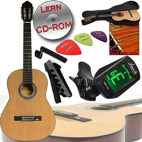 Alta calidad andaluza bolsa de ropa de 4/4 Guitarra clásica de concierto, sintonizador