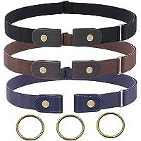 3 Piezas Cinturón Elástico Invisible Unisex Cinturón Elástico sin Hebilla para Mujer Hombre Cinturón Invisible Ajustable…