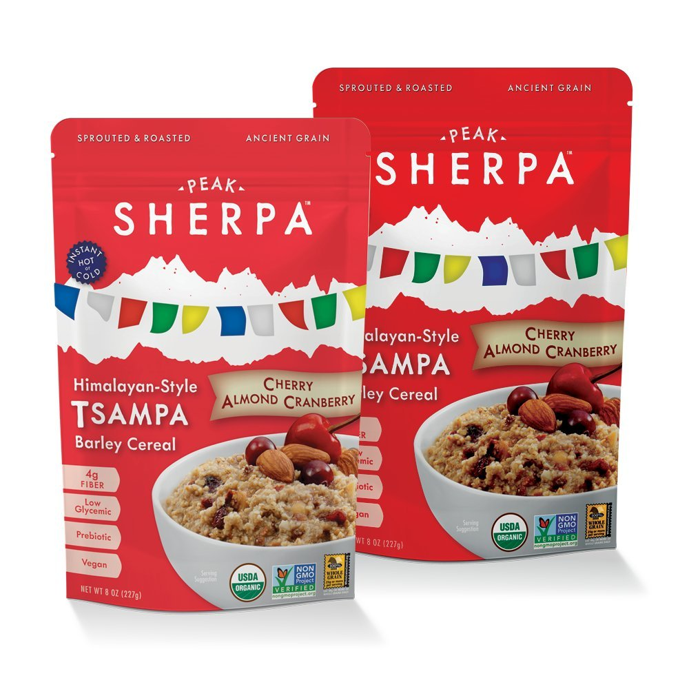 Peak Sherpa Tsampa Cereal, Cherry Almond Cranberry Flavor, Two 8 Ounce Pouches, Ready to Eat, Certified Organic, Sprouted & Roasted Whole Grain Barley Cereal