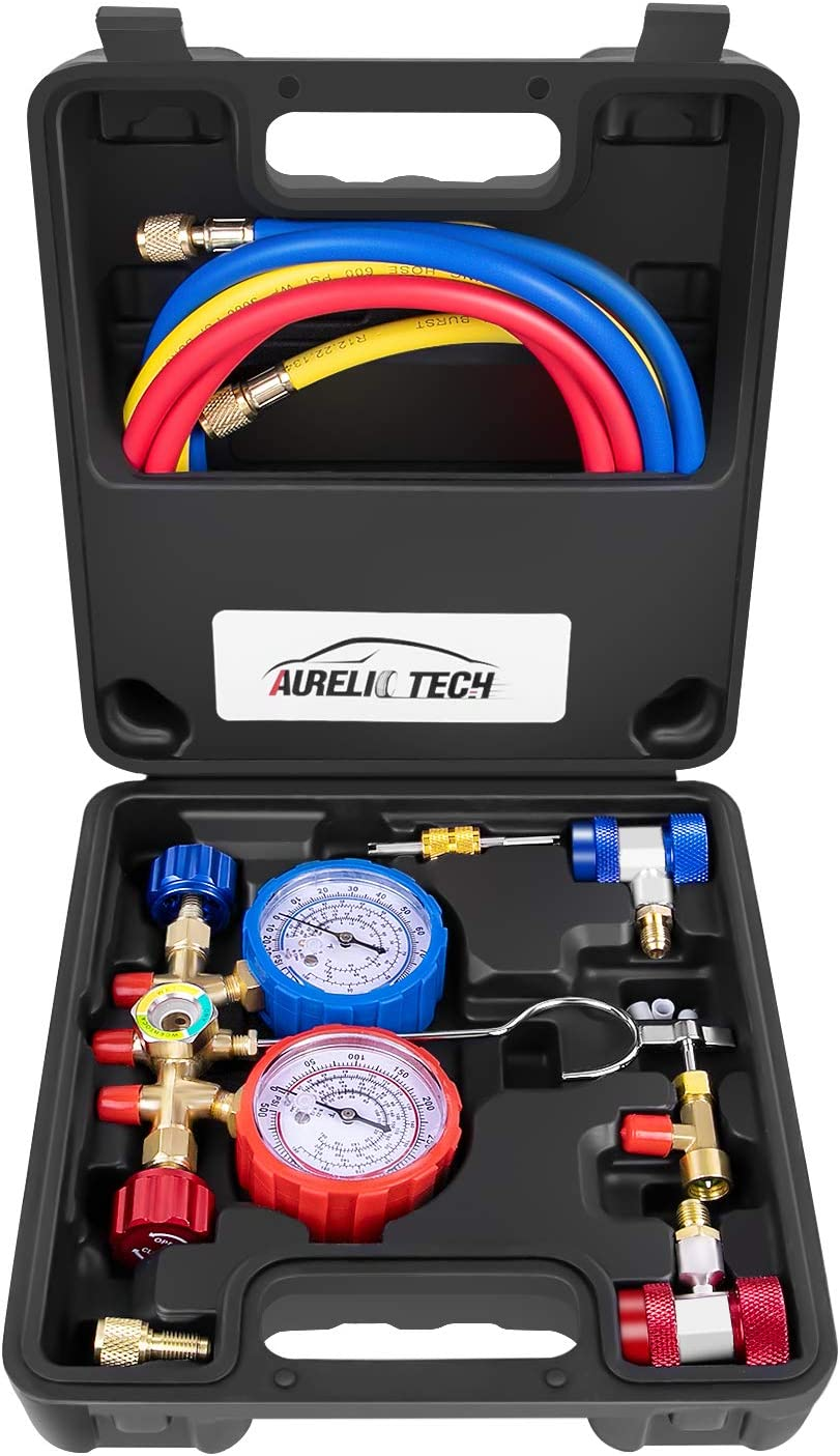 AURELIO TECH 3 Way A/C Diagnostic Manifold Gauge Set, Fits R134A R12 R22 and R502 Refrigerants, with 5FT Hose, Acme Tank Adapters, Adjustable Couplers and Can Tap